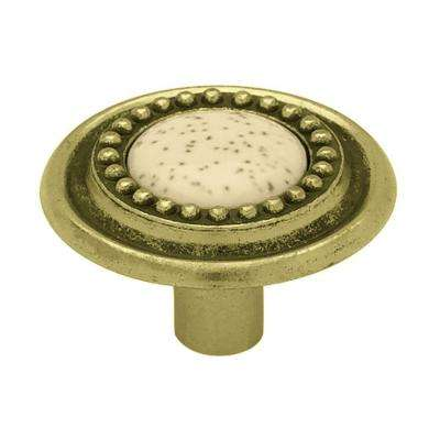 Sundial 1-1/4 in. (32mm) Antique Brass with Oatmeal Insert Round Cabinet Knob