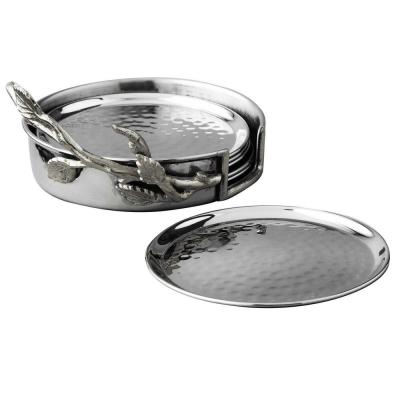 7-Piece Silver Leaf Coasters Set
