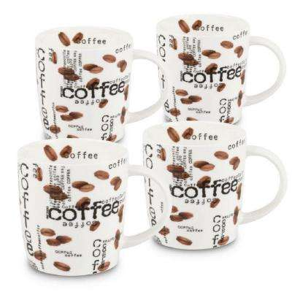 Konitz 4-Piece Coffee Collage Bone China Mug Set