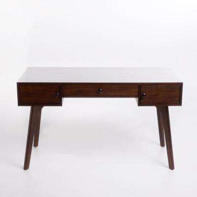 Quintus Walnut Brown Acacia Wood Desk with Drawers