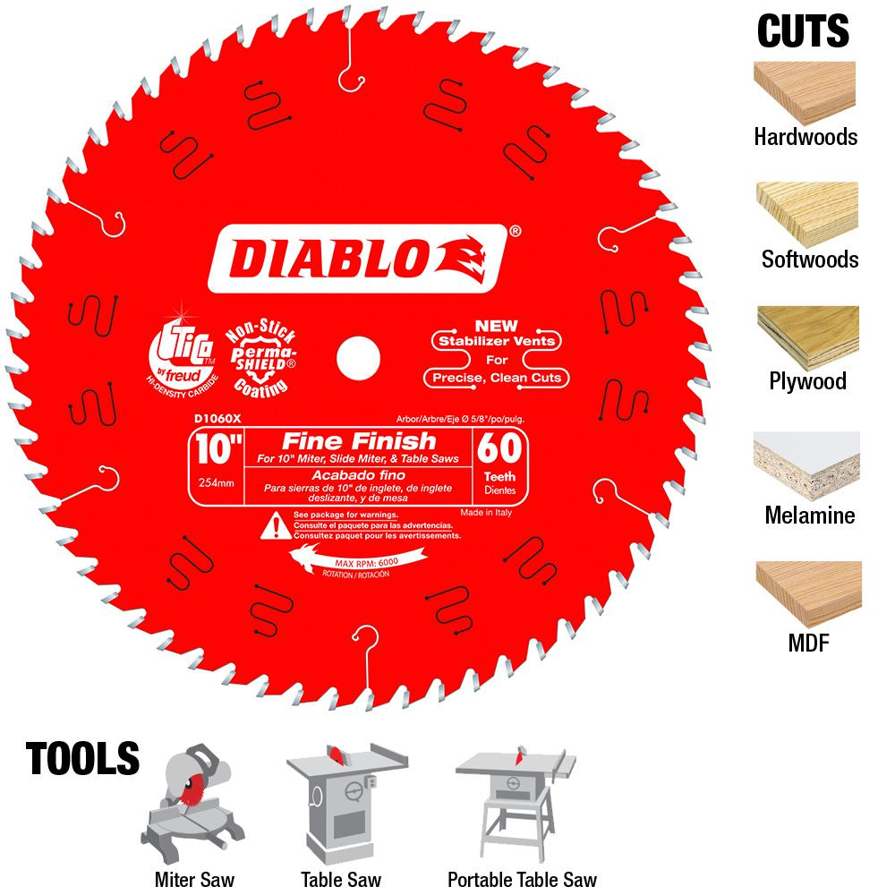 Diablo 10 in x 60 teeth fine finish saw blade d1060x the home depot diablo 10 in x 60 teeth fine finish saw blade greentooth Images