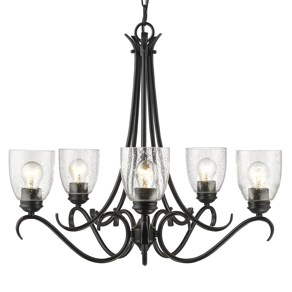 Golden lighting parrish 5 light black chandelier with seeded glass shade