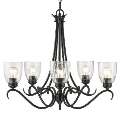 Parrish 5-Light Black Chandelier with Seeded Glass Shade
