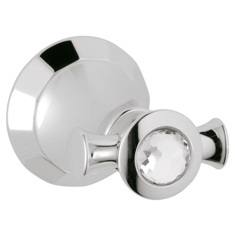 Kensington Single Robe Hook in StarLight Chrome with Swarovski Crystal