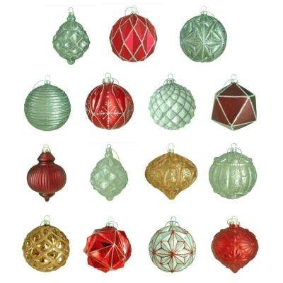 100 mm Winter Tidings Ornament Assortment (15-Count)