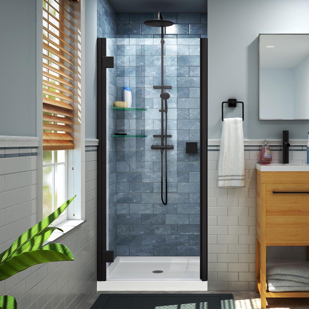 Lumen 42 in. x 72 in. Semi-Frameless Hinged Shower Door in Satin Black with 42 in. x 34 in. Base in White