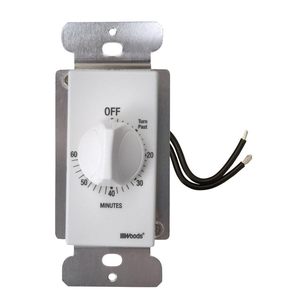 Woods 20-Amp 60-Minute In-Wall Spring Wound Countdown Timer Switch ...