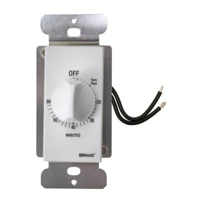 20-Amp 60-Minute In-Wall Spring Wound Countdown Timer Switch, White