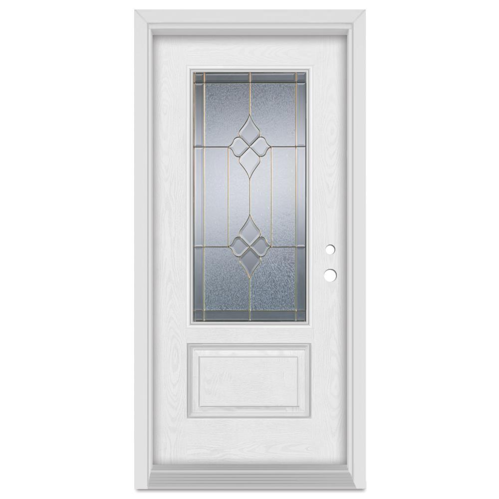 33.375 in. x 83 in. Geometric Left-Hand 3/4 Lite Brass Finished Fiberglass Oak Woodgrain Prehung Front Door Brickmould