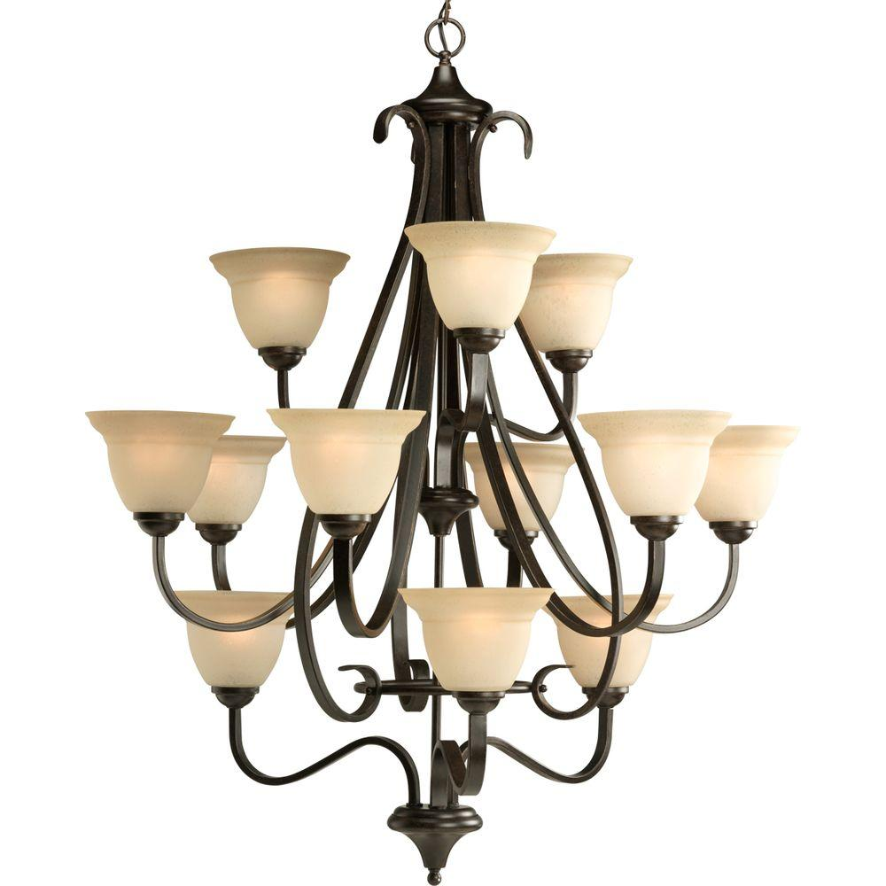 Progress Lighting Torino Collection 12-Light Forged Bronze Chandelier with Shade with Tea-Stained Glass Shade