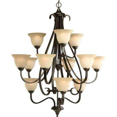 Torino Collection 12-Light Forged Bronze Chandelier with Shade