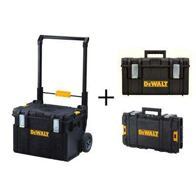 ToughSystem DS450 22 in. 17 Gal. Mobile Tool Box, DS130 Tool Box and DS300 Large Tool Box Combo Set (3 Components)