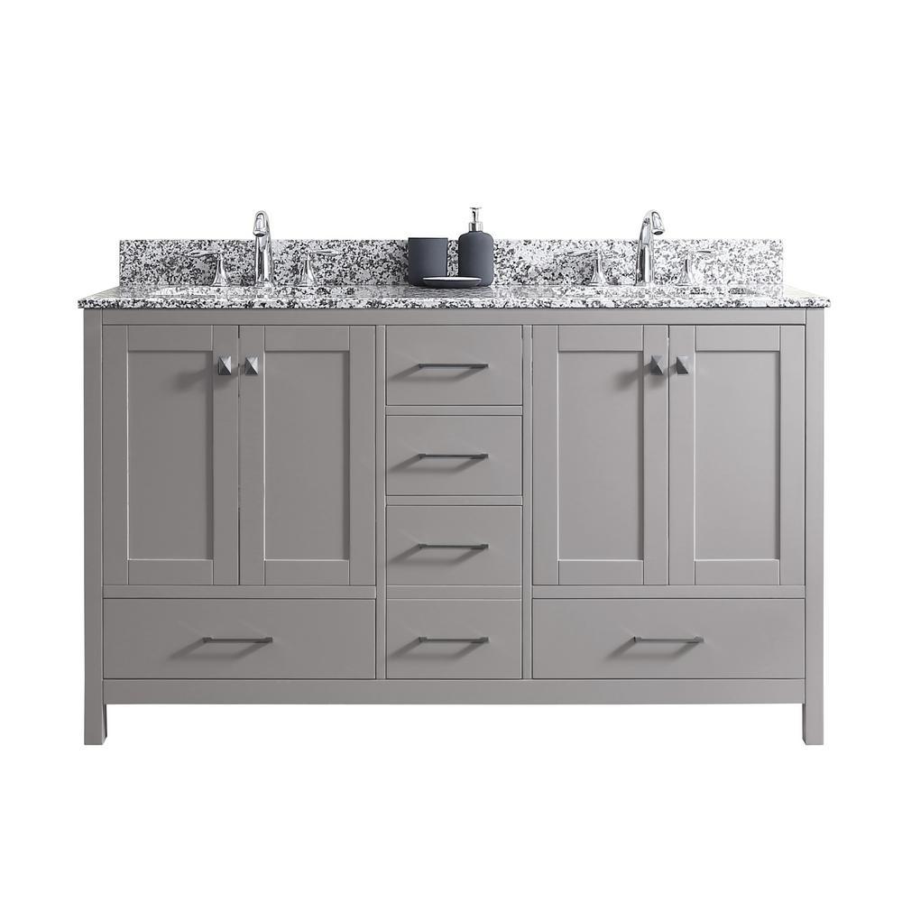 Virtu USA Caroline Madison 60 in. W Bath Vanity in C. Gray with Granite Vanity Top in Arctic White Granite with Square Basin