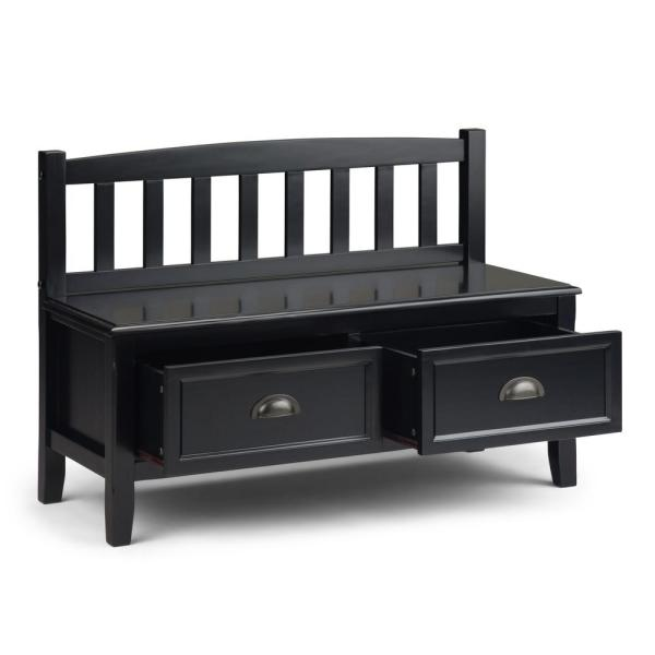 Simpli Home 42 In Burlington Black Solid Wood Wide Entryway Storage Bench With Drawers Axcburben Bl The Home Depot