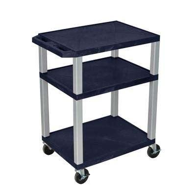 34 A/V 18 in. x 24 in. Cart 3-Shelves with electric - navy shelves, nickel Legs