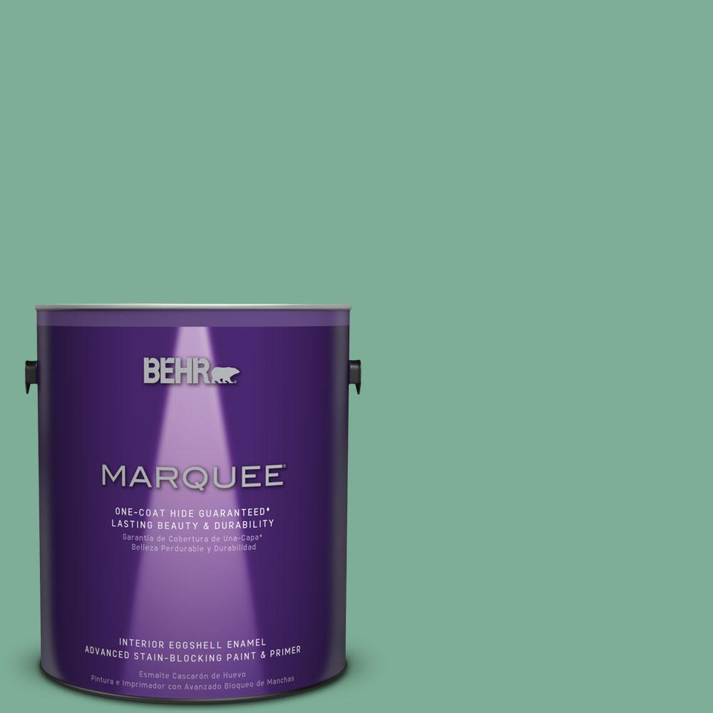 BEHR MARQUEE 1 gal. #MQ6-12 Nature Green One-Coat Hide Eggshell Enamel Interior Paint