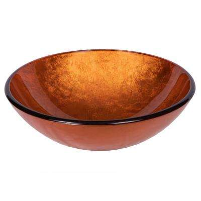 Reflections Glass Vessel Sink in Orange with Pop-Up Drain and Mounting Ring in Oil Rubbed Bronze