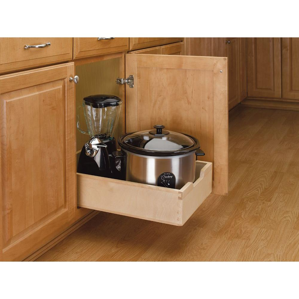 rev a shelf 5 62 in h x 14 in w x 22 5 in d medium wood base rh homedepot com kitchen cabinet pull out drawers phoenix az kitchen cabinet pull out drawer width