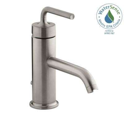 Purist 1-Hole Single Handle Low-Arc Bathroom Vessel Sink Faucet with Straight Lever Handle in Vibrant Brushed Nickel