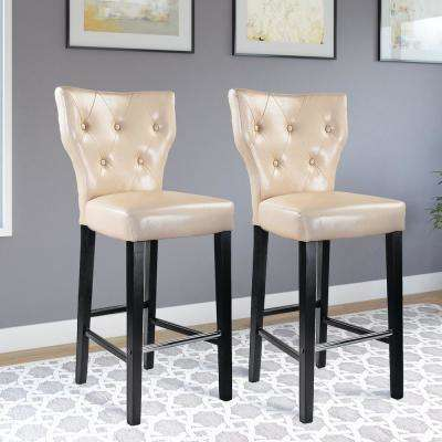 Kings 31 in. Cream Bonded Leather Bar Stool (Set of 2)