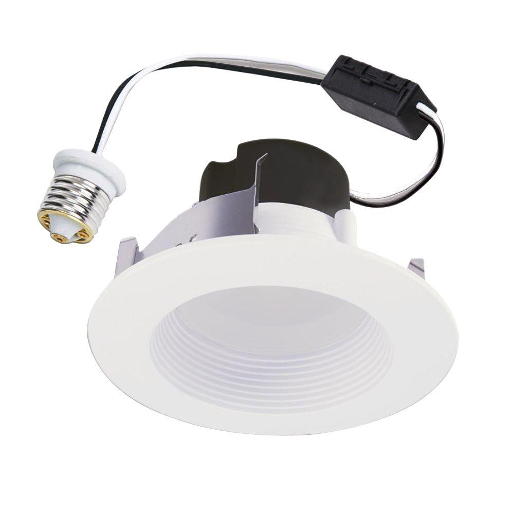Halo 4 in matte white recessed led retrofit module baffle and trim halo 4 in matte white recessed led retrofit module baffle and trim ring 80 cri 2700k rl460wh827pk the home depot aloadofball Gallery