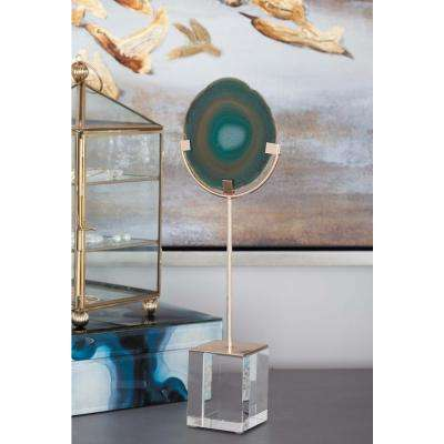 Agate Sculpture with Metal and Glass Stand