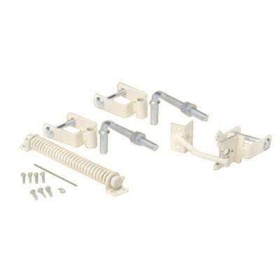 Navajo White Steel Deluxe Fence Gate Hardware Kit