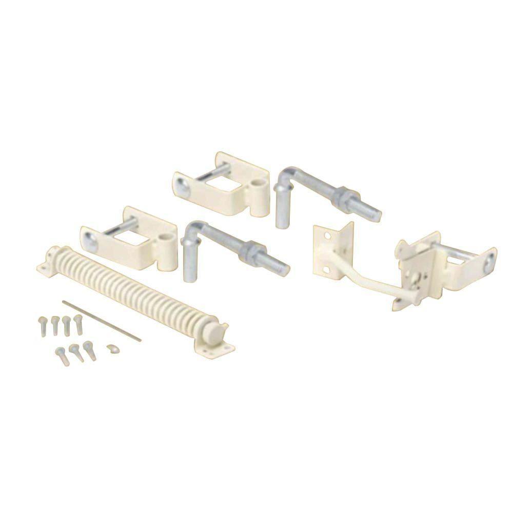 Navajo White Steel Deluxe Fence Gate Hardware Kit