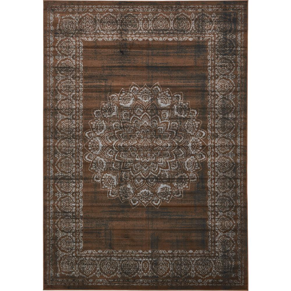 Unique loom istanbul chocolate brown 7 ft x 10 ft area rug 3134872 the home depot for Chocolate brown bathroom rugs
