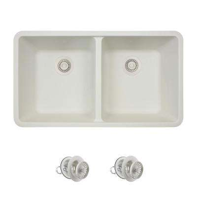 All-in-One Undermount Granite Composite 32.5 in. 0-Hole Double Bowl Kitchen Sink in White