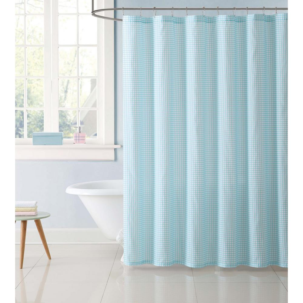 Kids Gingham 72 in. Aqua Shower Curtain