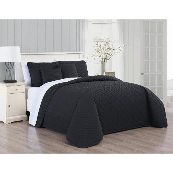 Avondale Manor Minnie 9-Piece Black/White King Quilt Set MIN9QTKINGGHBW