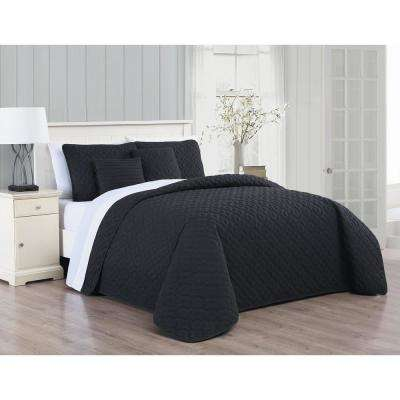 Minnie 9-Piece Black/White King Quilt Set