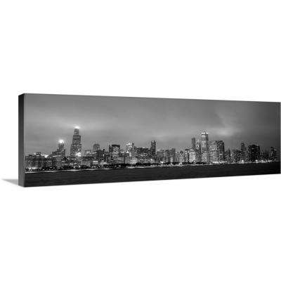 """""""Chicago City Skyline at Dusk, Black and White"""" by Circle Capture Canvas Wall Art"""
