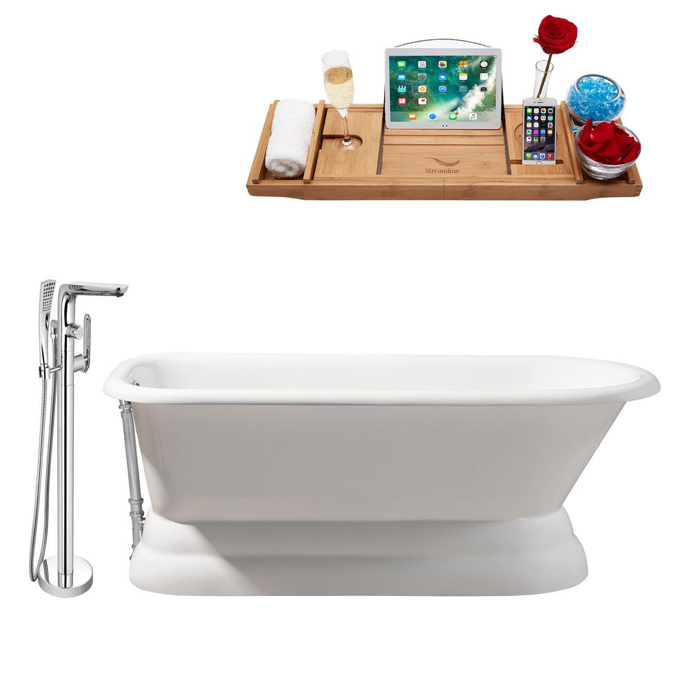 Streamline Tub, Faucet and Tray Set 66 in. Cast Iron Flatbottom Non-Whirlpool Bathtub in Glossy White