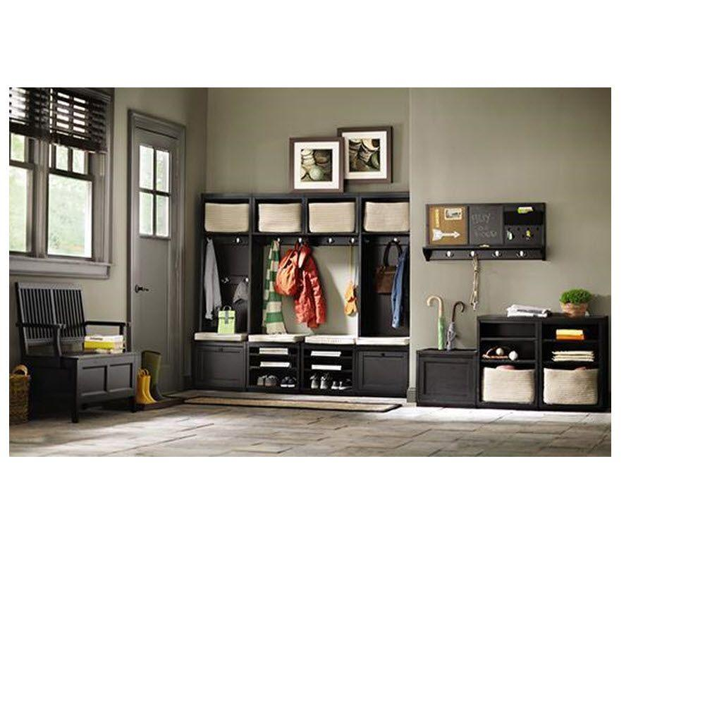 Martha Stewart Living Mudroom 20 in. W x 15 in. H Wood Worn Black Upper Cabinet