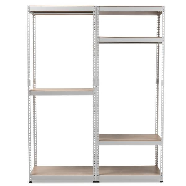 Baxton Studio Gavin White Metal 7 Shelf Closet Storage Racking Organizer