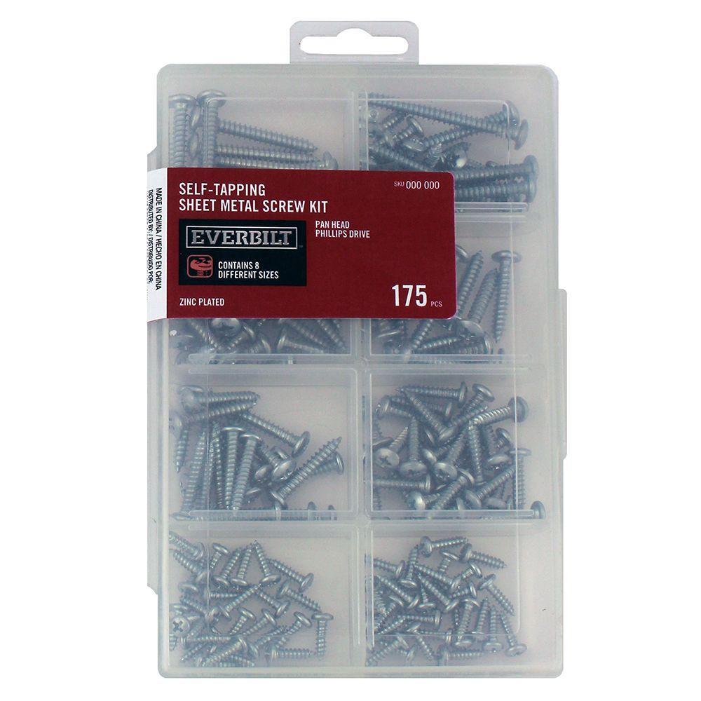 175-Piece Zinc-Plated Self-Tapping Sheet Metal Screw Kit