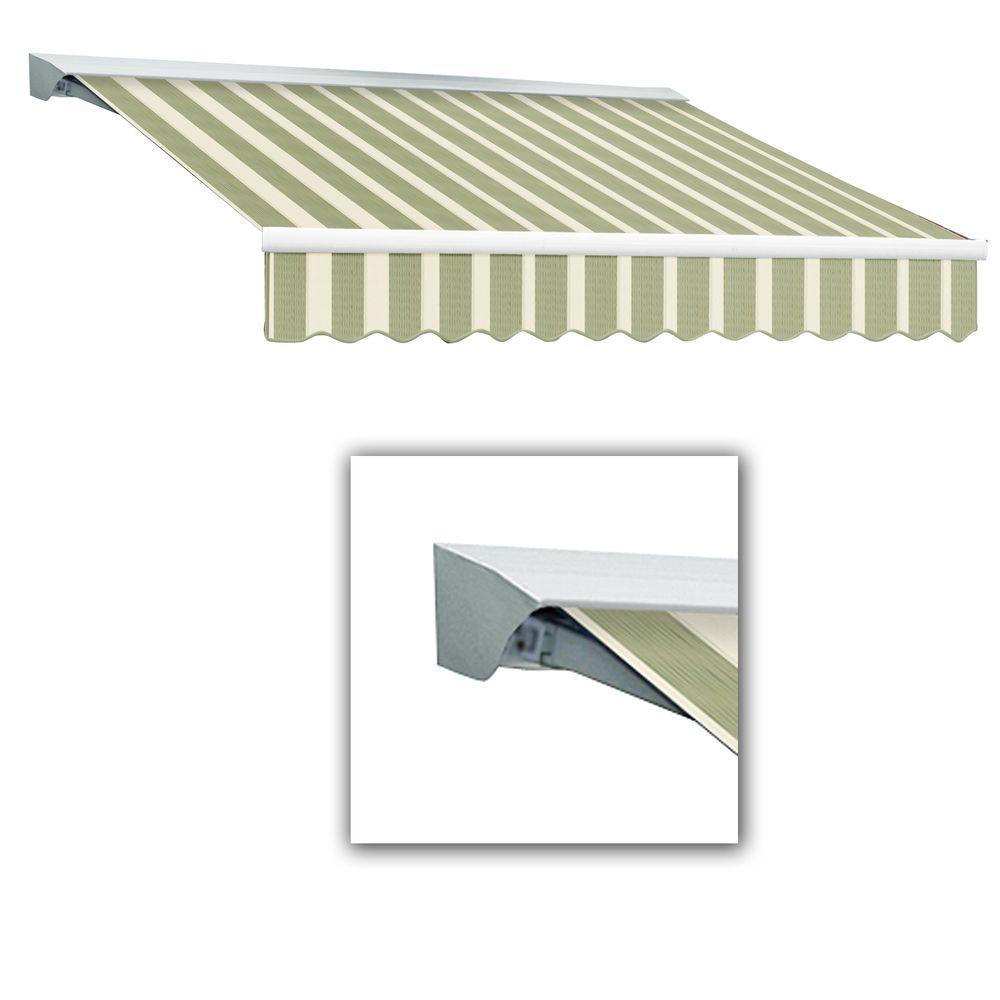AWNTECH 10 ft. LX-Destin Hood Right Motor with Remote Retractable Acrylic Awning (96 in. Projection) in Sage/Cream