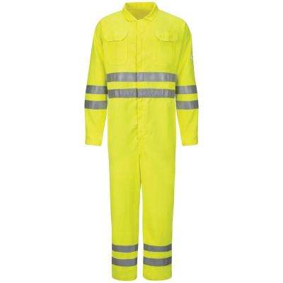 CoolTouch 2 Men's Size 44 (Tall) Yellow / Green Hi-Vis Deluxe Coverall with Reflective Trim