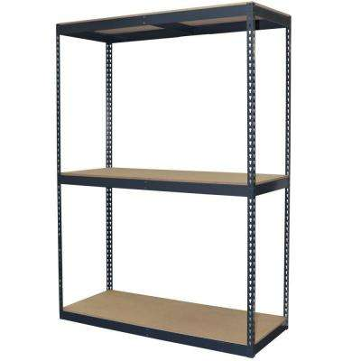 96 in. H x 60 in. W x 24 in. D 3-Shelf Steel Boltless Shelving Unit with Double Rivet Shelves and Laminate Board Decking
