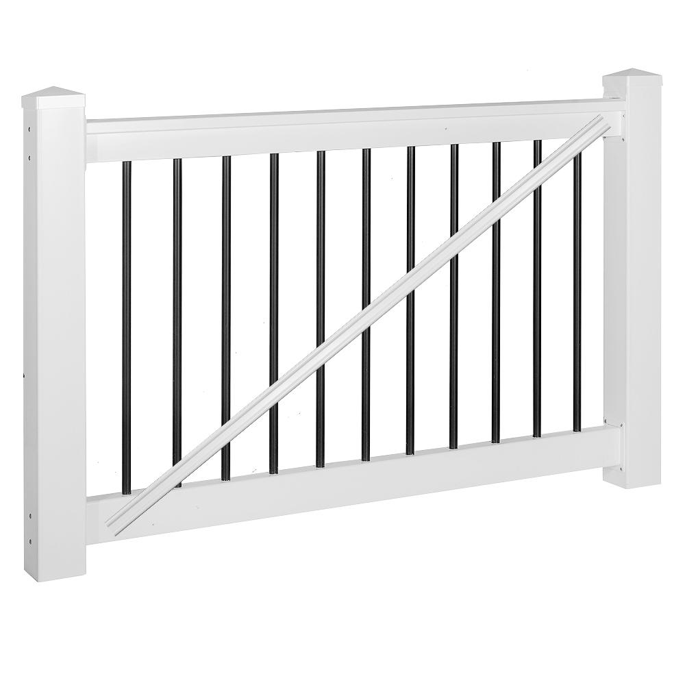 Weatherables Bellaire 3 ft. H x 5 ft. W White Vinyl Railing Gate Kit