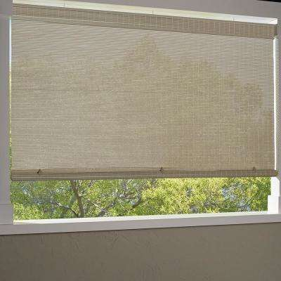 Driftwood Cordless Light Filtering UV Protection Vinyl Premium Roll-Up Sun Shade 72 in. W x 84 in. L