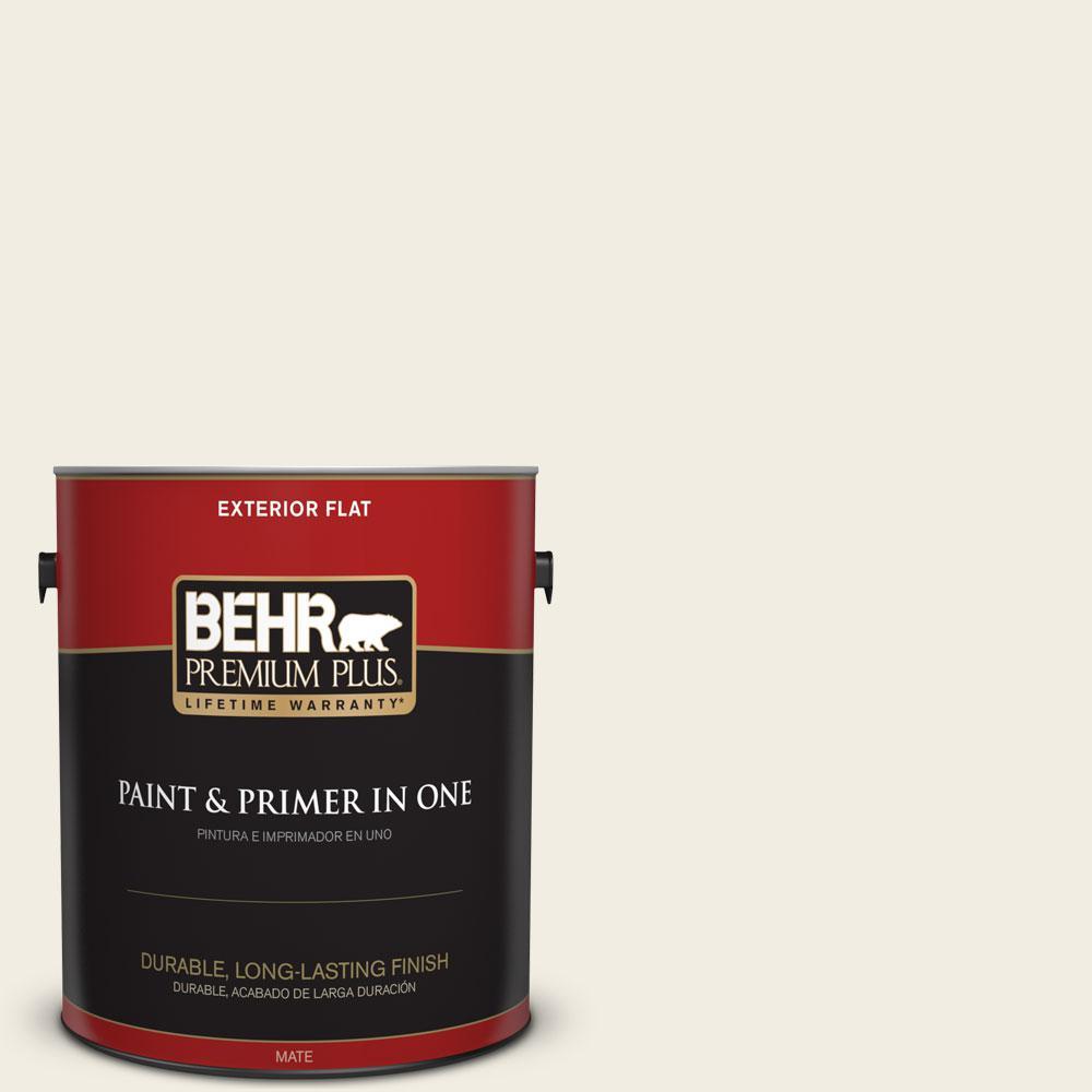 BEHR Premium Plus 1-gal. #ECC-16-2 Bright Moon Flat Exterior Paint