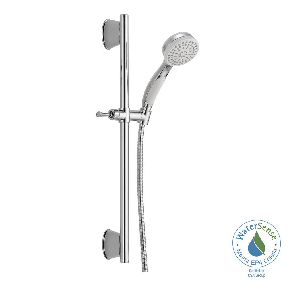 Delta ActivTouch 9 Spray Handheld Showerhead With Slide Bar And Pause In  Chrome / White