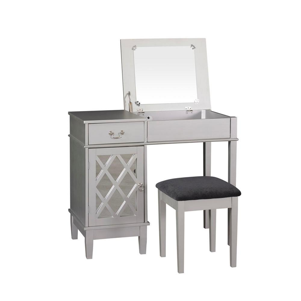 Linon Vanity Set: Linon Home Decor 2-Piece Silver Vanity Set-58036SIL-01-KD