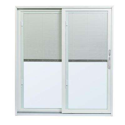 70-1/2 in. x 79-1/2 200 Series Left-Hand Perma-Shield Gliding Patio Door w/ Built-In Blinds and Satin Nickel Hardware