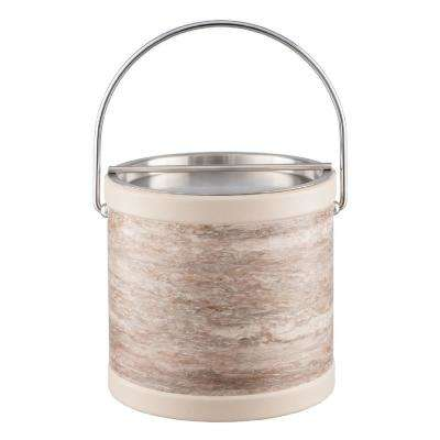 Smoke Stone 3 Qt. Gray Ice Bucket with Bale Handle and Metal Bar Lid