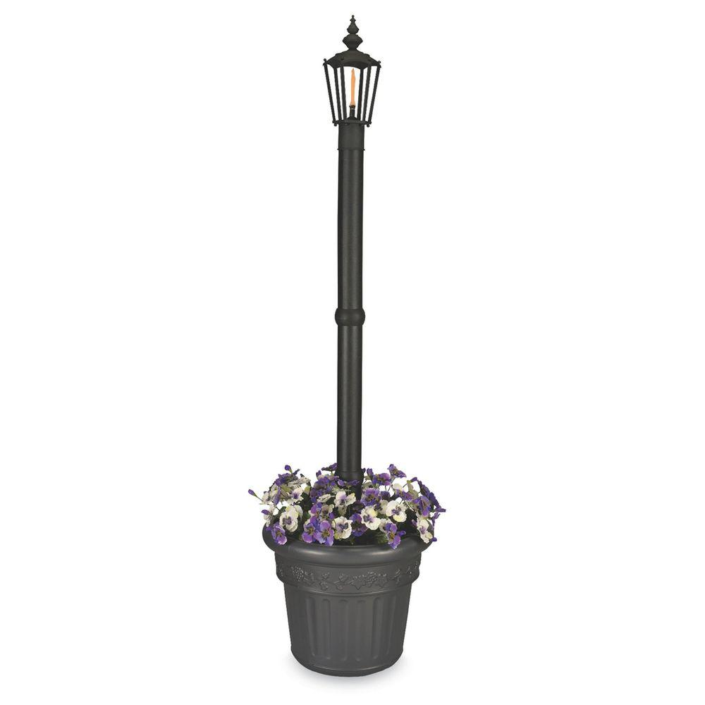 Patio Living Concepts Newport Single Citronella Flame Outdoor Post Lantern Black with Planter