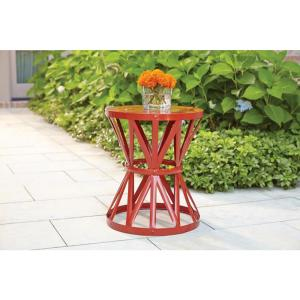18.9 in. Chili Red Round Metal Outdoor Patio Garden Stool